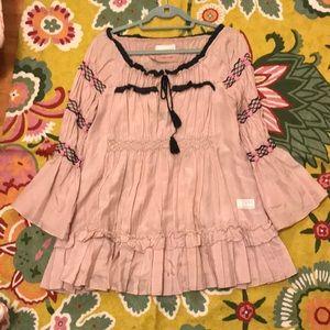 Odd Molly Sz 2 Silk Tunic Blouse
